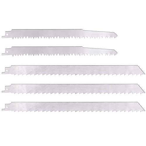 KONIGEEHRE 5 PACK Stainless Steel Reciprocating Saw Blades for Frozen Meat Bone Food Cutting Beef Turkey Wood Pruning Sawzall Blades