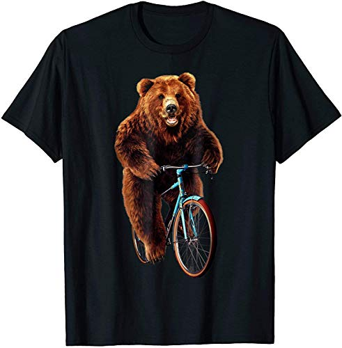 T-Shirt - Happy Grizzly Bear Cycling, Mountain Bike Bicycle