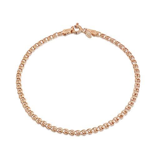 Amberta Gioielli - Bracciale - Catenina Argento Sterling 925 - Placcato Oro Rosa da 14K - Lunghezza: 18 cm