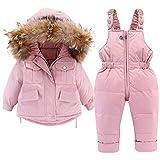 Enfant Combinaisons de Ski, Hiver Duvet Manteau à Capuche Pantalon Salopette de Ski pour Garçons Filles 24-36 Mois