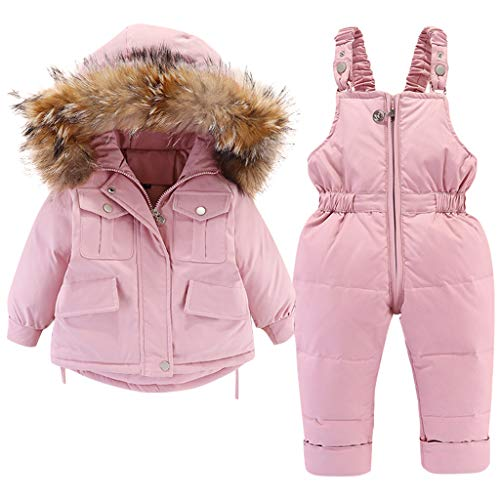 Minizone Kids Snowsuit Winter Hooded Down Jacket + Snow Bib Pants 2PCS Baby Girls Fashionable and Lightweight Ski Suit for Toddler 3-4 Years Pink