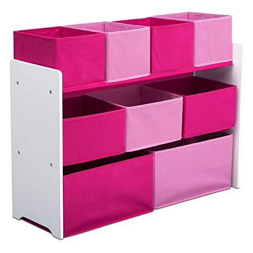 Delta Children Deluxe Multi-Bin Toy Organizer with Storage Bins, White/Pink Bins