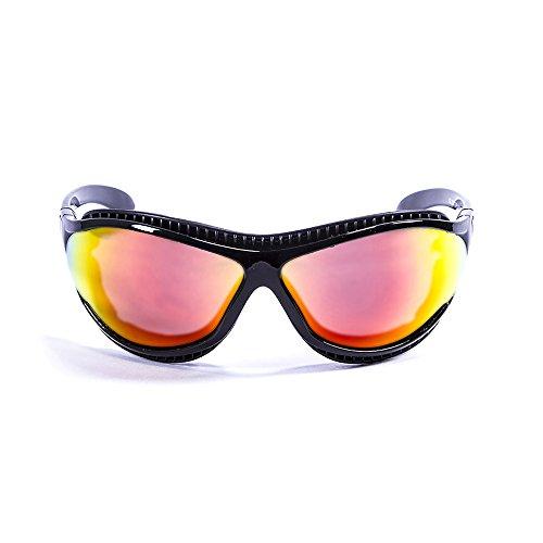 Ocean Sunglasses Tierra de Fuego - Gafas de Sol polarizadas - Montura : Negro Brillante - Lentes : Amarillo Espejo (12201.1)