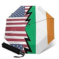 アメリカ合衆国とアイルランドの旗 人気 おしゃれ 傘 レディ雨傘 折りたたみ傘 三つ折り傘 自動傘 自動開閉 ワンタッチ 遮光 遮熱 晴雨兼用 耐風撥水 男女兼用