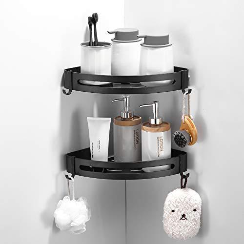 Delysia King - Juego de 2 cestas de ducha de esquina, estante de baño montado en la pared, organizador y estantes de almacenamiento, sin taladrar (negro)