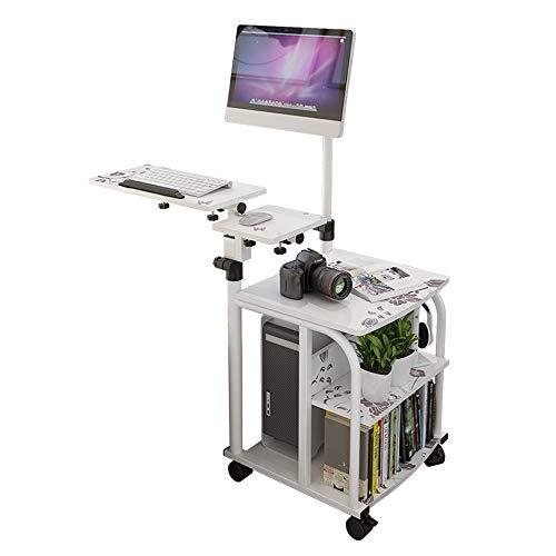DNSJB mobiele laptop-standplaats-verstelbare hoogte 76cm-120cm 4 wielen (met blokkeering)