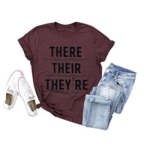 Womens Teacher Shirt Teachers Day Graphic Short Sleeve Tee Inspirational Casual Blouse Tops (L, C-Dark Red)