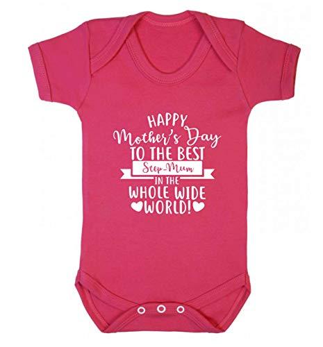 Flox Creative Baby Vest Happy Mother's Day Best Step-Mum in World Gilet pour bébé - Rose - Nouveau né
