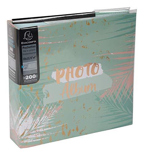 Exacompta 62222E - Álbum de Fotos con Fundas, 200 Fotos de 10 x 15 cm, 100 páginas, Formato 22,5 x 32,5 cm, álbumes Impresos con un Marcado Rosado sobre la Cubierta