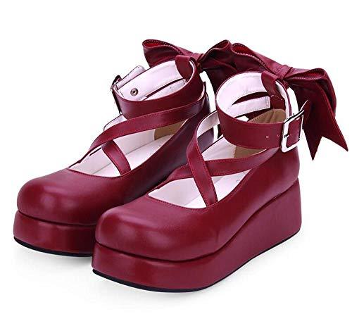LIGEIAOGIAO Chicas Lolita Cosplay Zapatos Señoras Tacones Altos Mujeres Tacones De Cuña-Vino Tinto_6