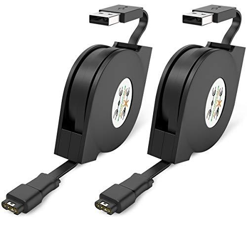 XIMU Cable de carga compatible con Garmin Vivoactive 3, vívoactive 3 MUSIC 2-Pack cargador USB de repuesto para Garmin Fenix 5 5S 5X / Instinct/Forerunner/Approach S40