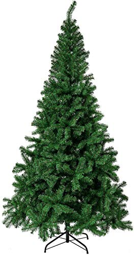 SKPower 6ft Artificial Christmas Tree 800 Branch Tips Easy Assembly Metal Stand PVC for Indoor Outdoor Christmas Decorations