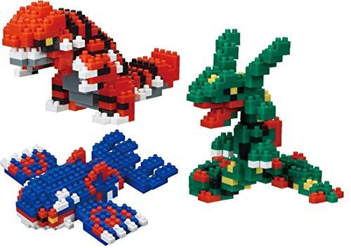Nanoblock Building Blocks Pokemon Groudon (290pcs), Kyogre (260pcs) & Rayquaza (240pcs) Gift Set Bundle - 3 Pack