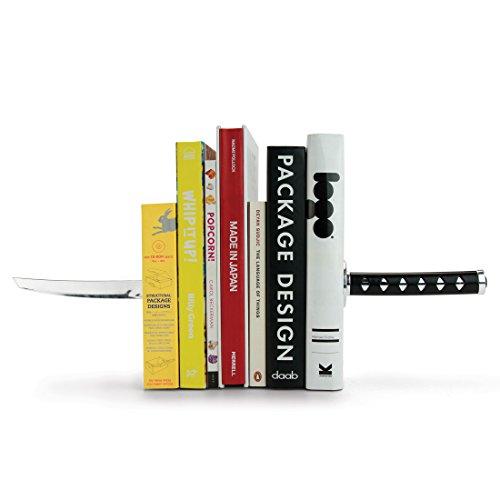 MUSTARD Katana Bookends, Samurai Ninja Sword Style, Black