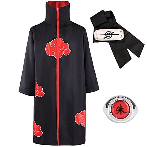 LUOWAN Akatsuki Itachi Umhang, Anime Naruto Cosplay Kostüm Akatsuki Uchiha Itachi Shuriken Vorderes Stirnband Zubehör Outfits Cosplay Zubehör (XS)