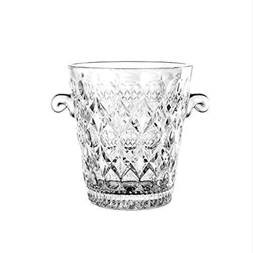 YWSZJ Eiskübel mit Edelstahlzange  Italienischer Glaseimer im Sternschliff-Design, spülmaschinenfest und perfekt for Ihre Hausbar