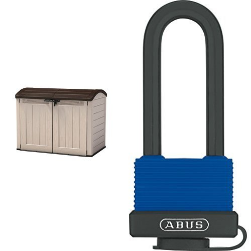 Keter Store It Out Ultra Resin Outdoor Garden Storage Shed - Beige and Brown & ABUS 70IB45LSC Marine Grade Aquasafe All Weather Shackle Padlock Set