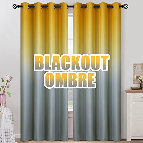 COSVIYA Grommet Ombre Room Darkening Curtains 84 inches Length for Kids/Girls Bedroom, Polyester Light Blocking Yellow to Grey Gradient Window Drapes/Curtains for Living Room,2 Panels, 52x84inches