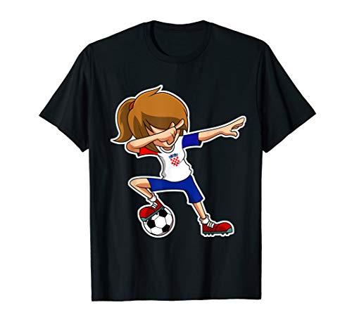 Dabbing Soccer Girl Croatia Trikot, kroatische Kinder Dab T-Shirt