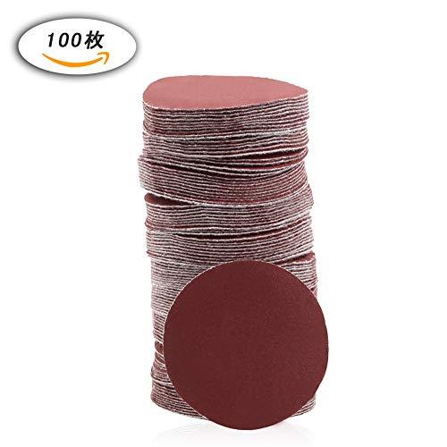 SPEEDWOX サンディングペーパー #400 100枚 50mm サンドペーパー マジック式 木工用 丸型 穴なし 紙やすり サンディングディスク 研磨