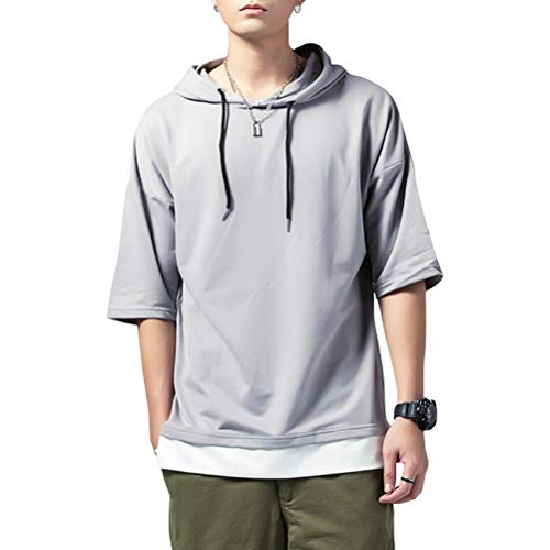 KENAIJING Herren T-Shirt mit Kapuze T Shirt Hoodie Pullover Sweatshirt (Hellgrau, 4XL (Gewicht75-80KG -Höhe185-190cm))