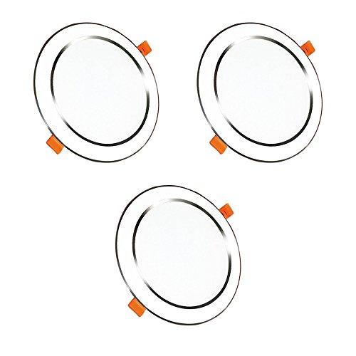 Lot de 3 Spots LED Projecteur Encastré Lampe Plafonnier Orientable 5W Blanc Chaud 2800-3000K 450LM Spot de Plafond Spot Encastrable AC85V-265V Diamètre du Panneau: 102MM, Le trou 80-85mm