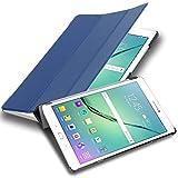Cadorabo Funda Tableta para Samsung Galaxy Tab S2 9.7 SM-T815N/T813N/T819N in Azul Oscuro Jersey – Cubierta Proteccíon Bien Fina en Cuero Artificial en Estilo Libro con Auto Wake Up