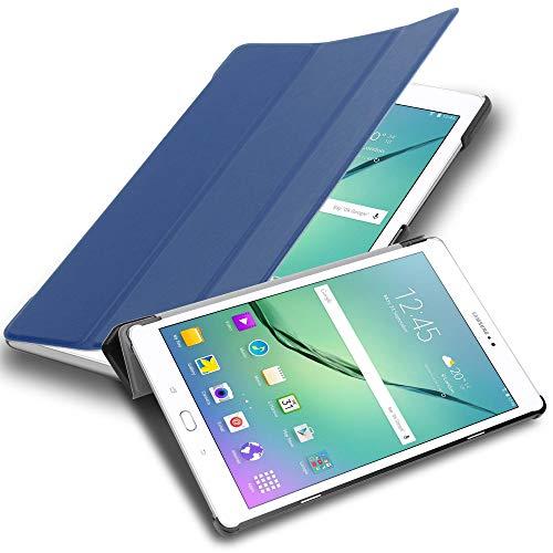 Cadorabo Custodia Tablet per Samsung Galaxy Tab S2 9.7 SM-T815N/T813N/T819N in Blu Scuro Jersey – Copertura Protettiva Molto Sottile di Similpelle in Stile Libro con Auto Wake Up e Funzione Stand