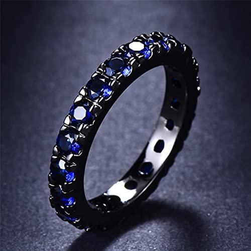 DOOLY Anillos de Compromiso pequeños Redondos de Cristal Azul con circonita para Mujer, Anillo de Piedra con Relleno de Oro Negro Vintage para Mujer, alianzas de Boda, joyería