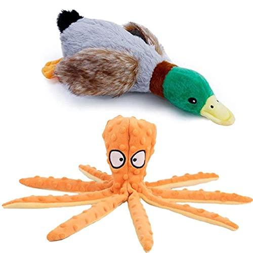2 piezas de cartón animado de pato con forma de pulpo para mascotas, juguete molar, juego de morder, dientes limpios, suministros para mascotas para cachorros y camas