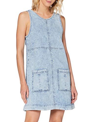edc by ESPRIT Damen 040CC1E333 Kleid, 904/BLUE Bleached, XS