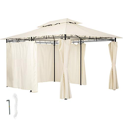 TecTake 800793 Luxury Gazebo 3x4m, Marquee Tent, Side Panels Curtains, Water-Resistant, Garden Patio Party, Outdoor Event, UV-Resistant (Cream)