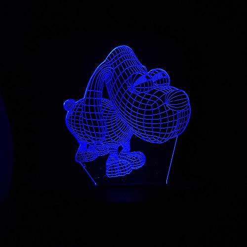 Leuke hond met grote ogen 3D LED illusion Light 7 kleurverandering touch en afstandsbediening console lichten voor kinderen kerstgeschenken en speelgoed lichten USB-stekker