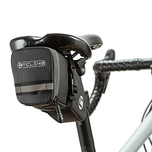BAIGIO Bolsa para Sillín de Bicicleta Bolsa para Bicicleta de Montaña Reflexiva Bolsa Bicicleta Trasera Resistente al Agua Paquete de Cuña Impermeable para Bicicletas de Montaña de Carrera (Negro)