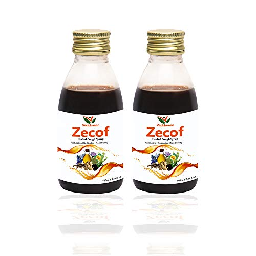 Vaddmaan Zecof – Pure Herbal & Nautral Ayurvedic Cough Syrup With Tulsi, Saunth, Yashthimadhu, Karkasingi, Somlata, Kaantakari Neelgiri & Peppermint - Cough Syrup- 100ML (Pack of 2)