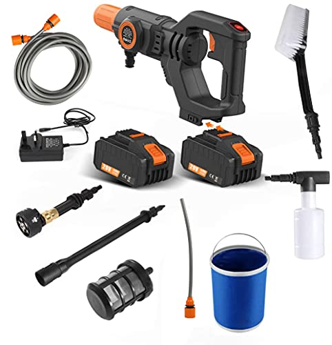 20V Cordless Pressure Washer Max 30Bar 435PSI Portable Pressure Cleaner with Lithium-Ion Battery, Charger and Cleaning Accessories (Double Batteries)