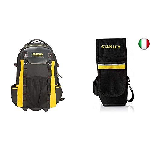Stanley FATMAX 1-79-215 Trolley /Zaino portautensili, 36 x 23 x 54 cm, Nero/Giallo & 1-93-329 Fodero porta utensili da cintura, Nero/Giallo