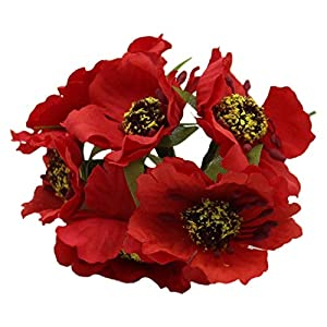 Artificial and Dried Flower Silk Poppies Camellia 5cm 60pcs/lot Artificial Flowers Corn Poppy Hand Made Small Wedding Decoration(red)