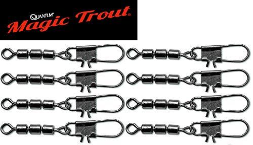 Quantum Magic Trout Forellen Wirbel - 8 Angelwirbel zum Forellenangeln, Einhänger zum Angeln auf Forellen, Karabinerwirbel, Größe/Tragkraft:Gr. 12 / 7kg