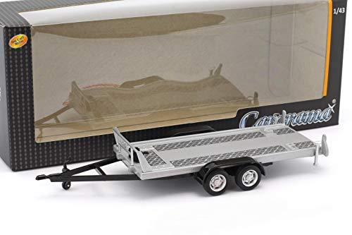 Cararama Anhänger Autotransporter-Hänger mit Tandemachse Silber 1:43