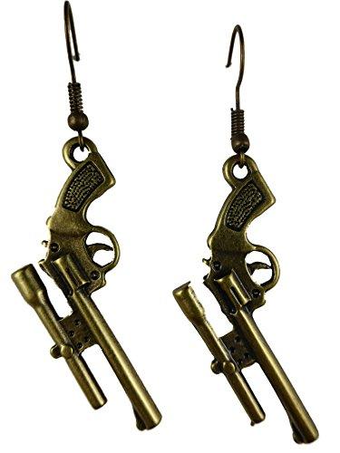 Ausgefallene Ohrringe Ohrhänger Hänger Vintage messingfarben Waffe Revolver Gewehr Zielrohr 4929