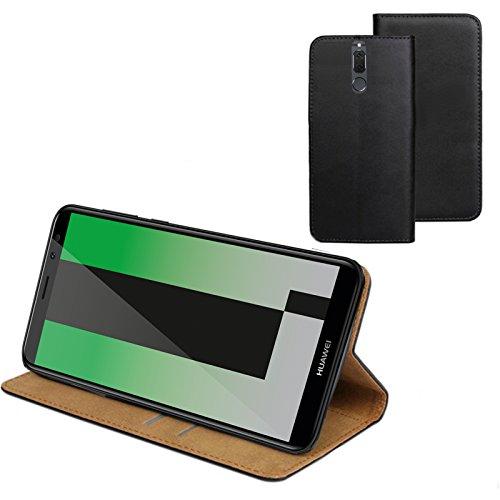 MOELECTRONIX ECHT Leder Buch Klapp Tasche Schutz Hülle Flip Hülle Etui passend für Huawei Mate 10 Lite Dual SIM RNE-L21