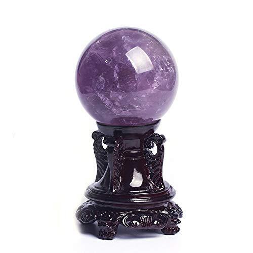 FTFTO Living Equipment Bola de Piedras Preciosas de Cristal Amatista Natural Esfera de Cristal Bola de Cristal Feng Shui para Riqueza y éxito Esfera de adivinación (tamaño: 9 cm)
