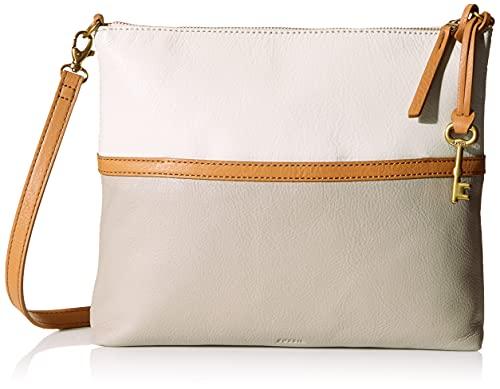 Fossil Women's Fiona Leather Large Crossbody Purse Handbag, White/Taupe