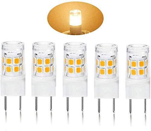 Bombillas para microondas T4 JCD Bi-Pin WB36X10213 G8 120V 20W | foco GY8.6 de repuesto para piezas de horno halógenas GE WB25X10019 WB08X10050 WB36X10246, Paquete de 5 | blanco cálido