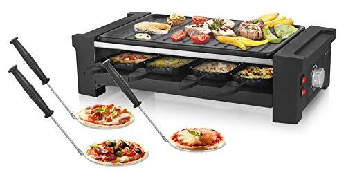 Emerio RG-121295 Raclette + Pizza + Grill, 3in1, 1350 Watt, Antihaftbeschichtung, 8 Pfännchen, 6 Pizzaheber, 1 Teigausstecher, ideal für Party + Geburtstag, 1150, Schwarz
