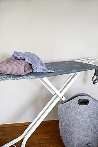 Wenko Bügeltisch Professional, extra breites Bügelbrett mit großer Ablage für die Dampfbügelstation, mit Bügelbrettbezug, geeignet für Dampfbügeleisen, Metall, 130 x 99 x 48 cm, weiß/blau - 8