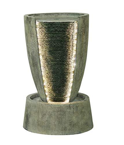 Dehner Gartenbrunnen Tambor mit LED Beleuchtung, ca. 67.5 x 41 x 29 cm, Polyresin, grau