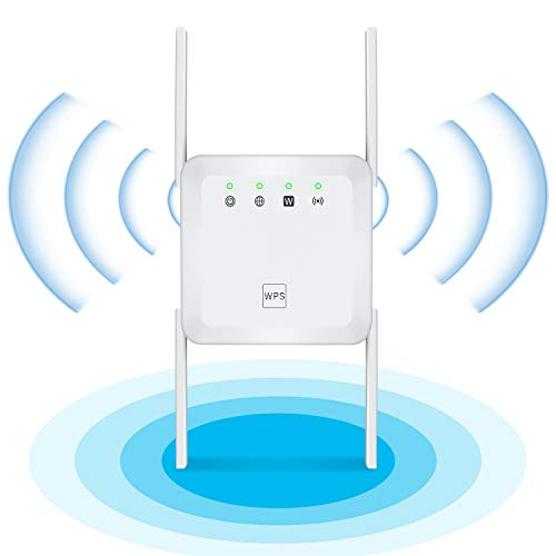 1200Mbps Wireless WiFi Repeater Range Extender with 5GHz & 2.4GHz Dual Band,4 Antennas 360° Full Coverage WiFi Booster, Extend WiFi Signal to Smart Home Office (1200Mbps, White)