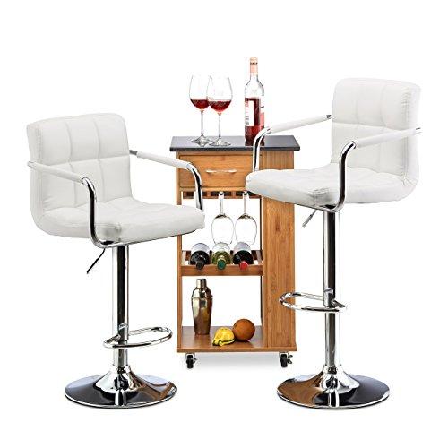 Relaxdays Barkruk 2-delige set, in hoogte verstelbaar, draaibaar, met leuning, kunstleer, metaal, HxBxD: 115 x 53 x 43 cm, wit